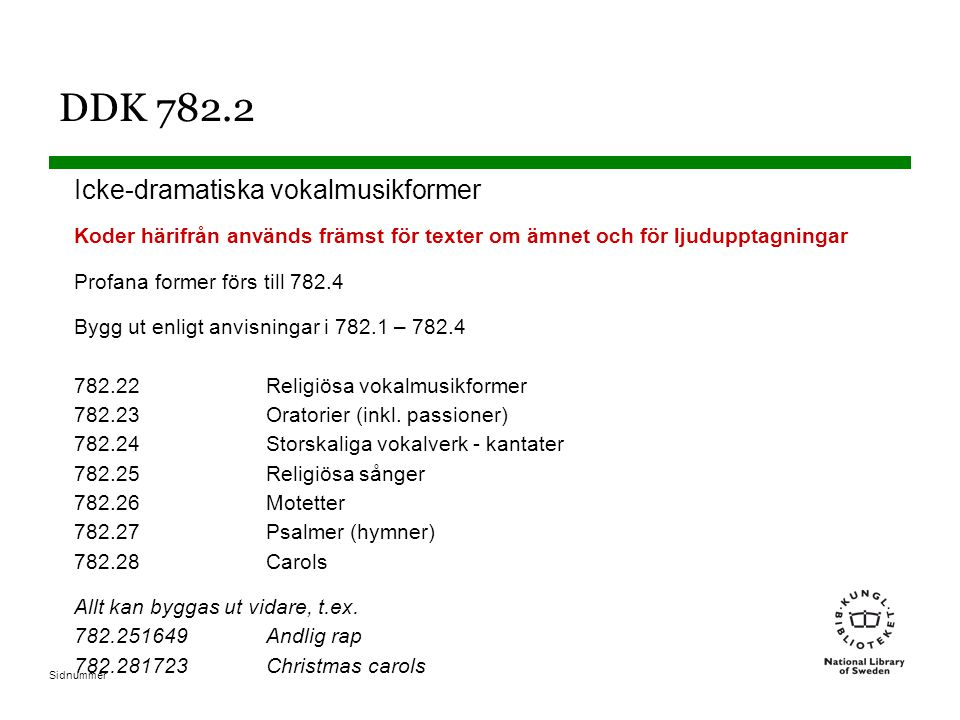 Sidnummer DDK 782.2 Icke-dramatiska vokalmusikformer Koder härifrån används främst för texter om ämnet och för ljudupptagningar Profana former förs till 782.4 Bygg ut enligt anvisningar i 782.1 – 782.4 782.22Religiösa vokalmusikformer 782.23Oratorier (inkl.