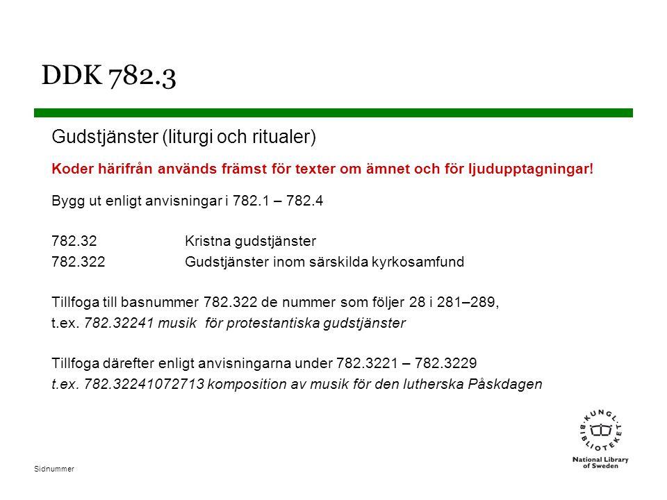 Sidnummer DDK 782.3 Gudstjänster (liturgi och ritualer) Koder härifrån används främst för texter om ämnet och för ljudupptagningar.