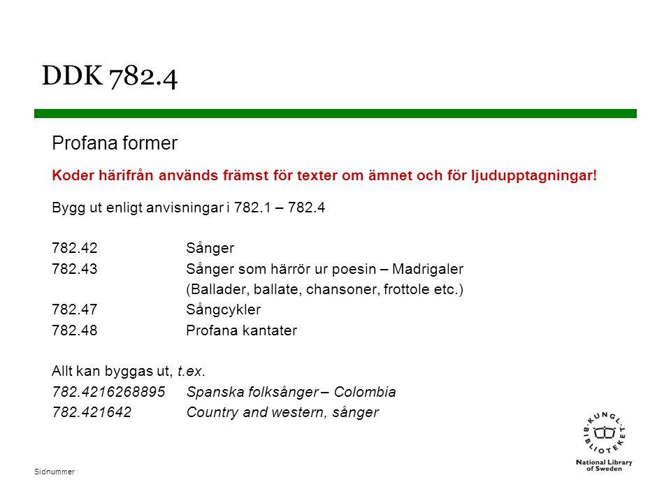 Sidnummer DDK 782.4 Profana former Koder härifrån används främst för texter om ämnet och för ljudupptagningar.