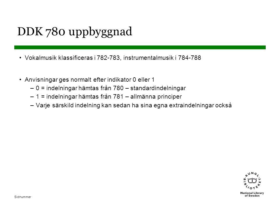 Sidnummer DDK 780 uppbyggnad Vokalmusik klassificeras i 782-783, instrumentalmusik i 784-788 Anvisningar ges normalt efter indikator 0 eller 1 –0 = indelningar hämtas från 780 – standardindelningar –1 = indelningar hämtas från 781 – allmänna principer –Varje särskild indelning kan sedan ha sina egna extraindelningar också