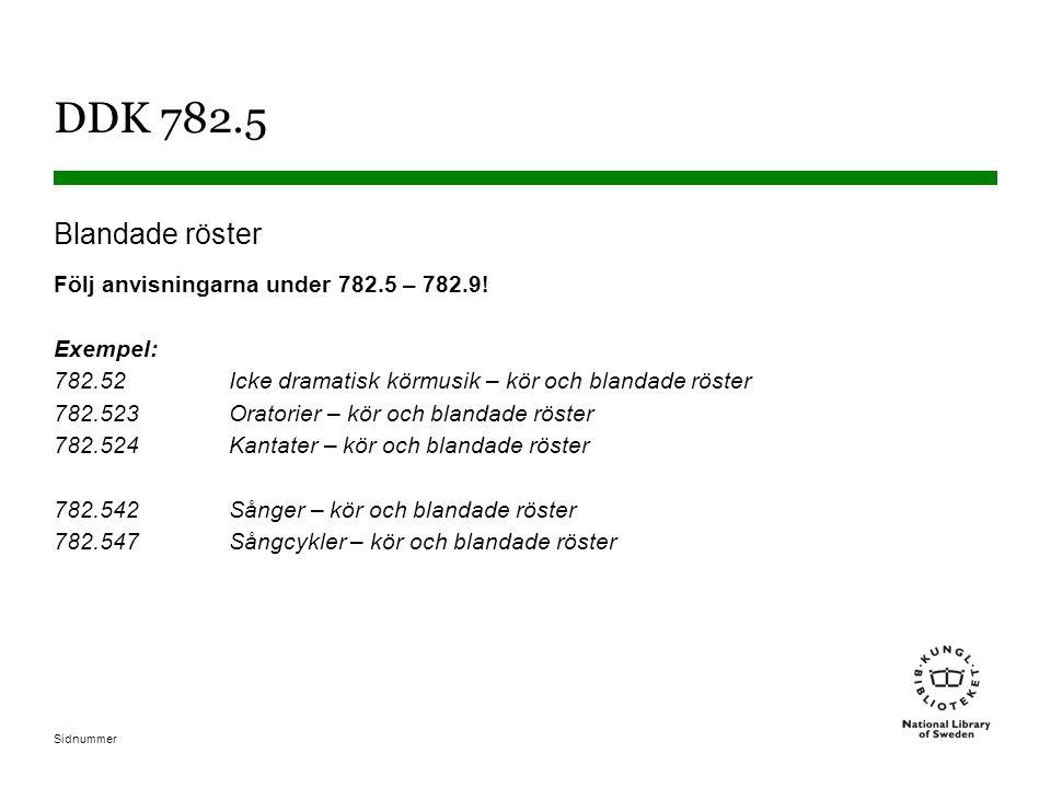 Sidnummer DDK 782.5 Blandade röster Följ anvisningarna under 782.5 – 782.9.