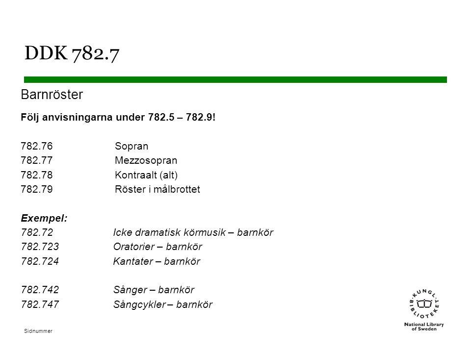 Sidnummer DDK 782.7 Barnröster Följ anvisningarna under 782.5 – 782.9! 782.76Sopran 782.77Mezzosopran 782.78Kontraalt (alt) 782.79Röster i målbrottet