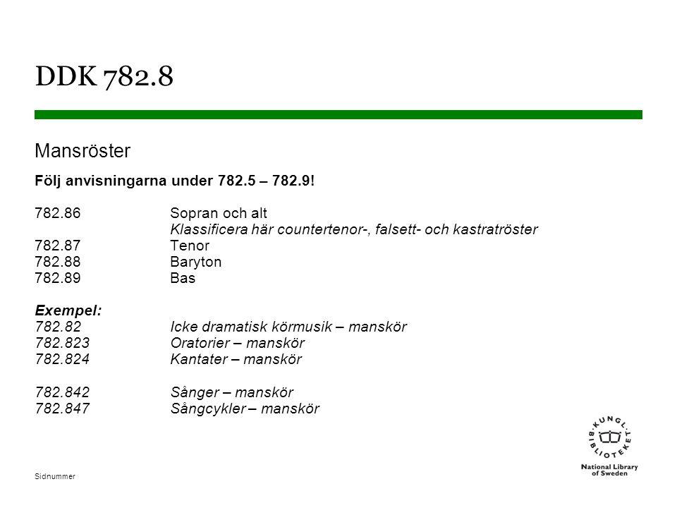 Sidnummer DDK 782.8 Mansröster Följ anvisningarna under 782.5 – 782.9! 782.86Sopran och alt Klassificera här countertenor-, falsett- och kastratröster
