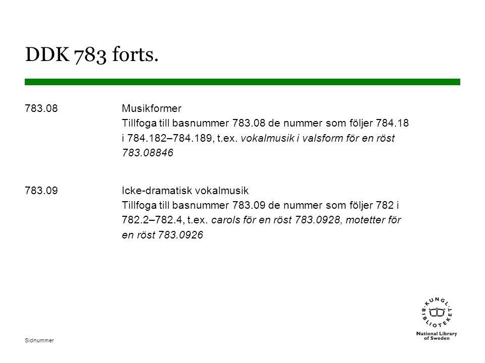 Sidnummer DDK 783 forts. 783.08Musikformer Tillfoga till basnummer 783.08 de nummer som följer 784.18 i 784.182–784.189, t.ex. vokalmusik i valsform f