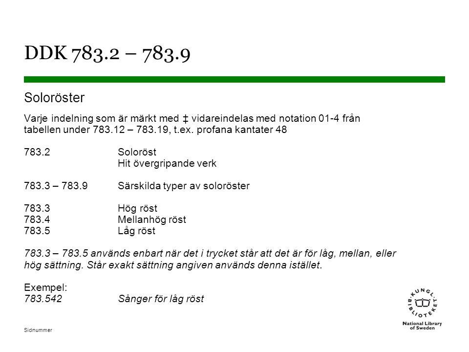 Sidnummer DDK 783.2 – 783.9 Soloröster Varje indelning som är märkt med ‡ vidareindelas med notation 01-4 från tabellen under 783.12 – 783.19, t.ex. p