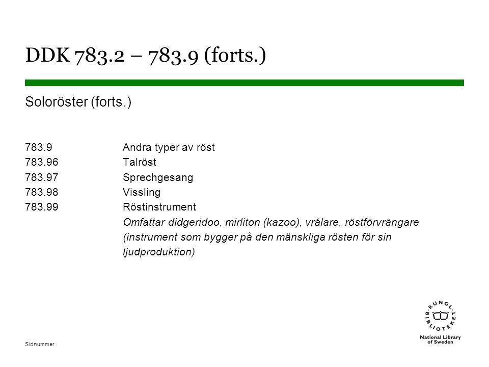 Sidnummer DDK 783.2 – 783.9 (forts.) Soloröster (forts.) 783.9Andra typer av röst 783.96Talröst 783.97Sprechgesang 783.98Vissling 783.99Röstinstrument Omfattar didgeridoo, mirliton (kazoo), vrålare, röstförvrängare (instrument som bygger på den mänskliga rösten för sin ljudproduktion)