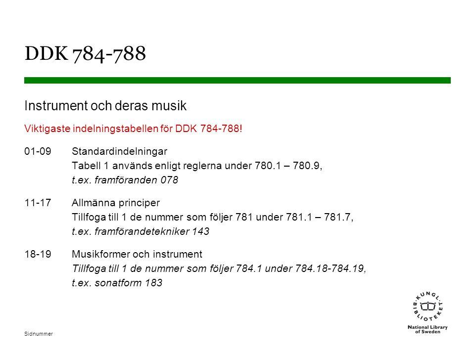 Sidnummer DDK 784-788 Instrument och deras musik Viktigaste indelningstabellen för DDK 784-788! 01-09Standardindelningar Tabell 1 används enligt regle
