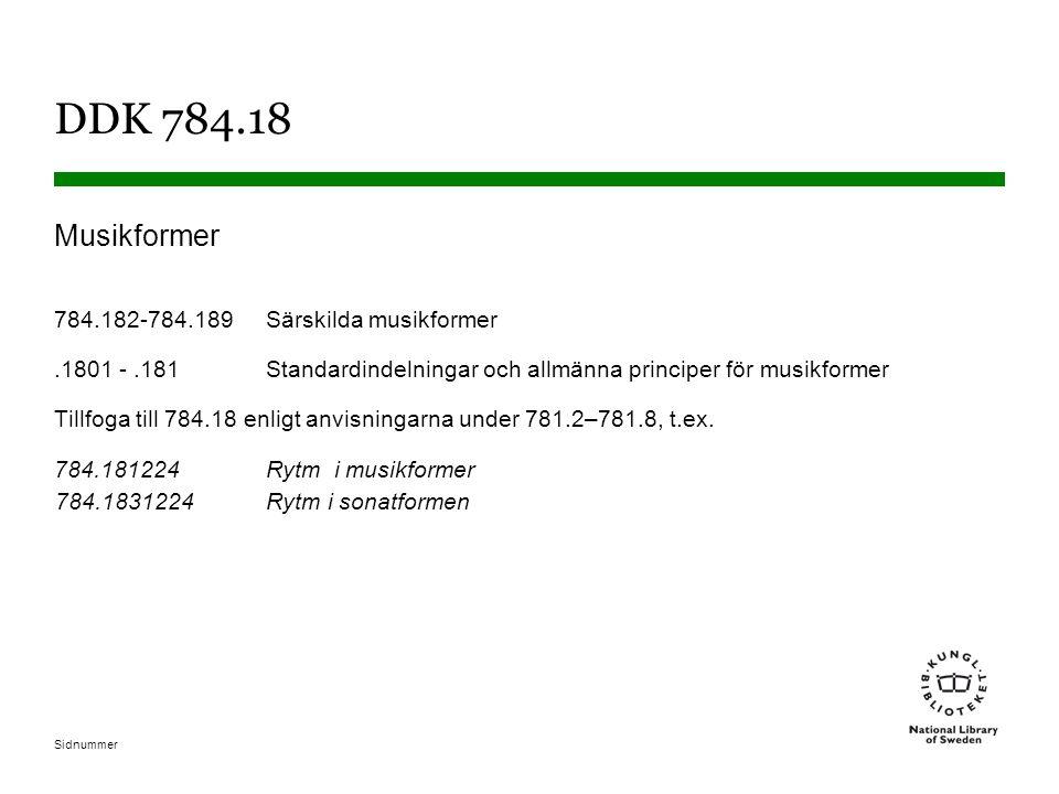 Sidnummer DDK 784.18 Musikformer 784.182-784.189Särskilda musikformer.1801 -.181 Standardindelningar och allmänna principer för musikformer Tillfoga till 784.18 enligt anvisningarna under 781.2–781.8, t.ex.