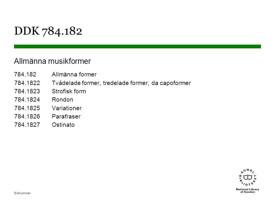 Sidnummer DDK 784.182 Allmänna musikformer 784.182Allmänna former 784.1822Tvådelade former, tredelade former, da capoformer 784.1823Strofisk form 784.