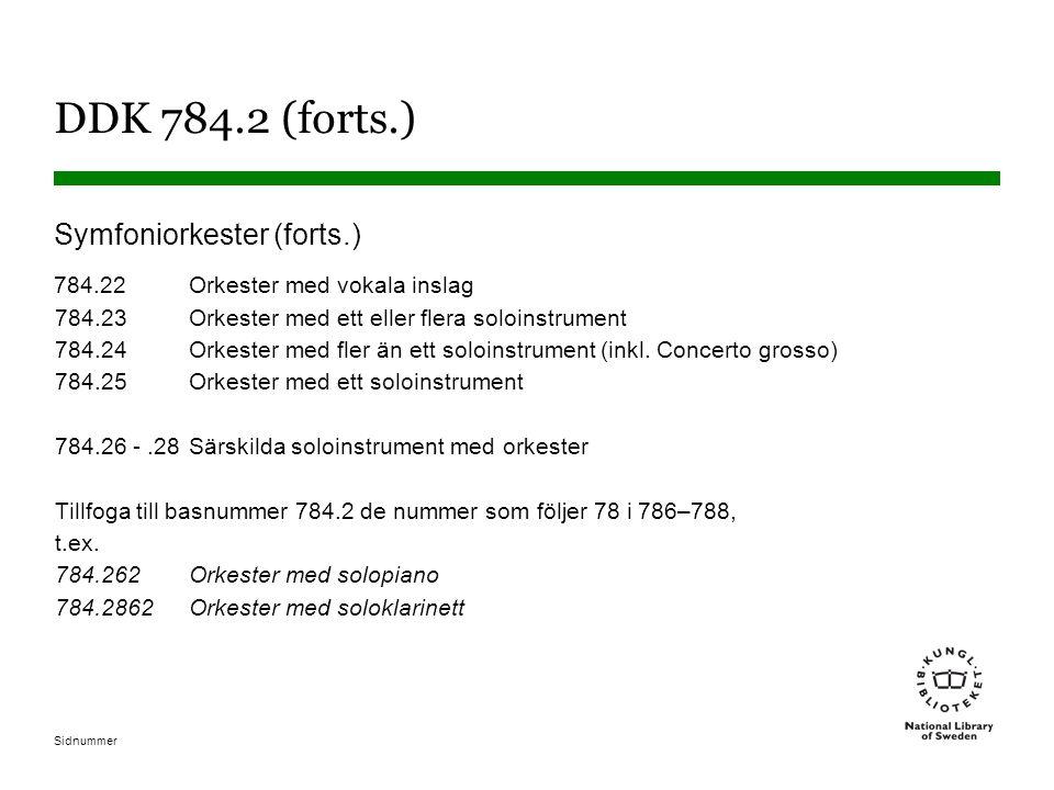 Sidnummer DDK 784.2 (forts.) Symfoniorkester (forts.) 784.22Orkester med vokala inslag 784.23Orkester med ett eller flera soloinstrument 784.24Orkester med fler än ett soloinstrument (inkl.