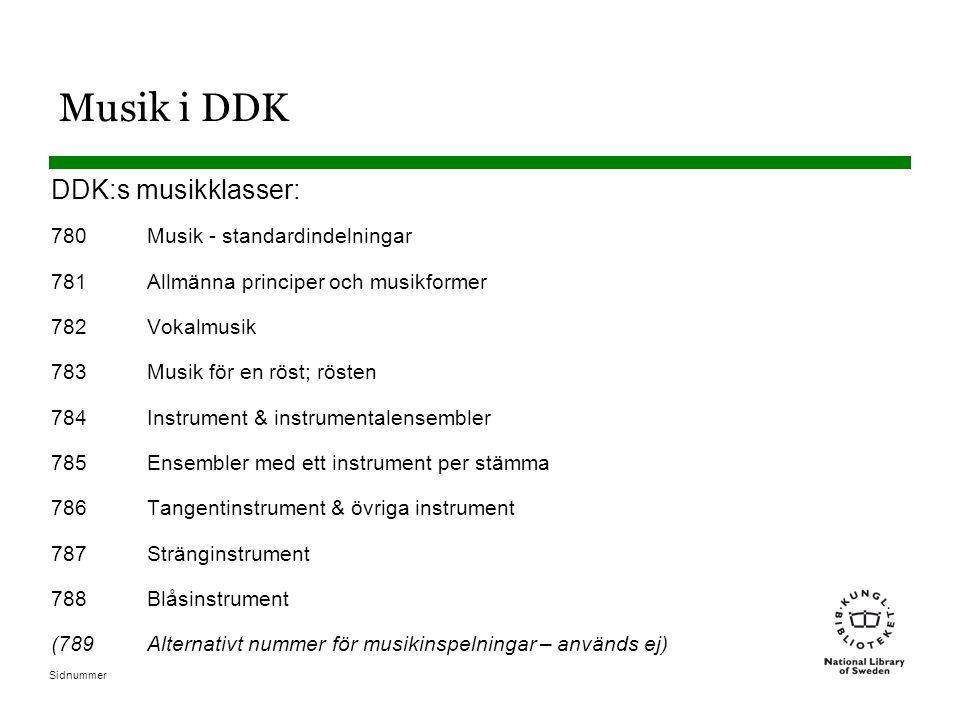 Sidnummer Musik i DDK DDK:s musikklasser: 780Musik - standardindelningar 781Allmänna principer och musikformer 782Vokalmusik 783Musik för en röst; rösten 784Instrument & instrumentalensembler 785Ensembler med ett instrument per stämma 786Tangentinstrument & övriga instrument 787Stränginstrument 788Blåsinstrument (789Alternativt nummer för musikinspelningar – används ej)