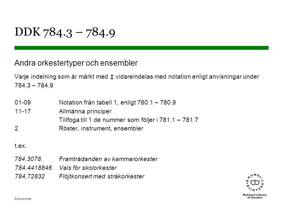 Sidnummer DDK 784.3 – 784.9 Andra orkestertyper och ensembler Varje indelning som är märkt med ‡ vidareindelas med notation enligt anvisningar under 784.3 – 784.9 01-09Notation från tabell 1, enligt 780.1 – 780.9 11-17Allmänna principer Tillfoga till 1 de nummer som följer i 781.1 – 781.7 2Röster, instrument, ensembler t.ex.