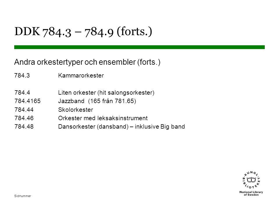 Sidnummer DDK 784.3 – 784.9 (forts.) Andra orkestertyper och ensembler (forts.) 784.3Kammarorkester 784.4Liten orkester (hit salongsorkester) 784.4165Jazzband (165 från 781.65) 784.44Skolorkester 784.46Orkester med leksaksinstrument 784.48Dansorkester (dansband) – inklusive Big band
