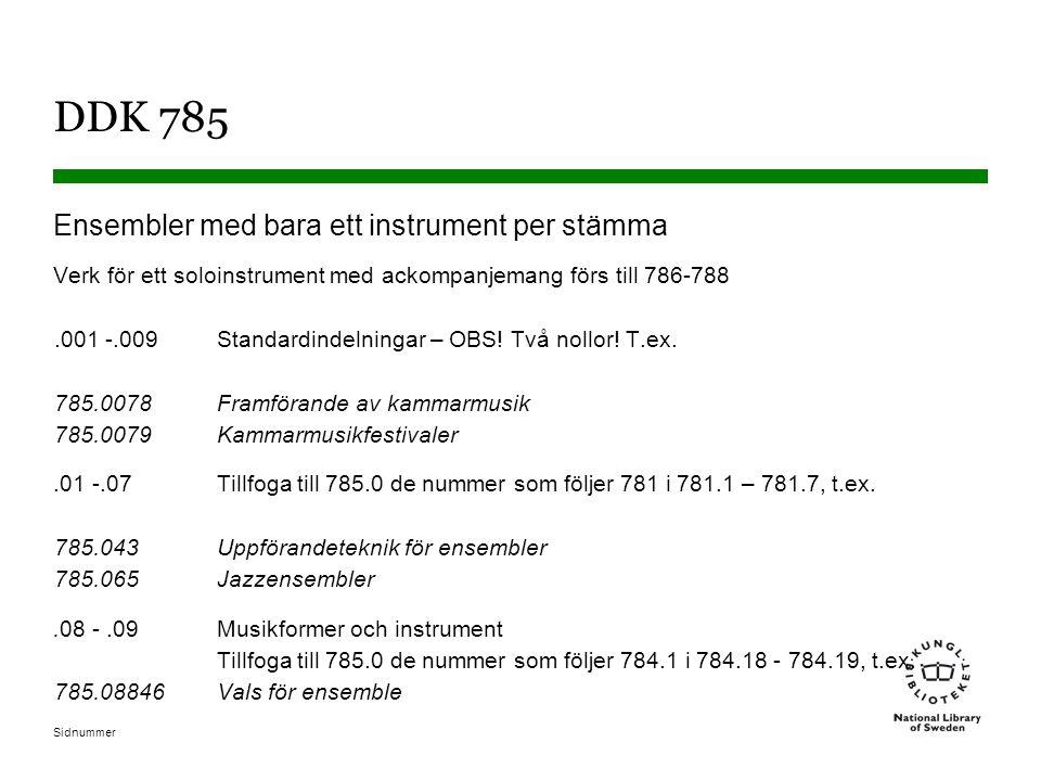 Sidnummer DDK 785 Ensembler med bara ett instrument per stämma Verk för ett soloinstrument med ackompanjemang förs till 786-788.001 -.009Standardindelningar – OBS.