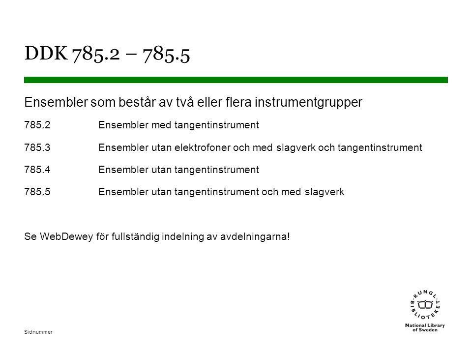 Sidnummer DDK 785.2 – 785.5 Ensembler som består av två eller flera instrumentgrupper 785.2Ensembler med tangentinstrument 785.3Ensembler utan elektrofoner och med slagverk och tangentinstrument 785.4Ensembler utan tangentinstrument 785.5Ensembler utan tangentinstrument och med slagverk Se WebDewey för fullständig indelning av avdelningarna!