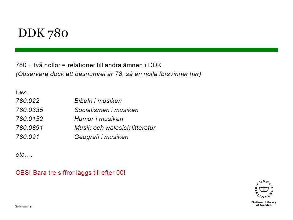Sidnummer DDK 780 780 + två nollor = relationer till andra ämnen i DDK (Observera dock att basnumret är 78, så en nolla försvinner här) t.ex. 780.022