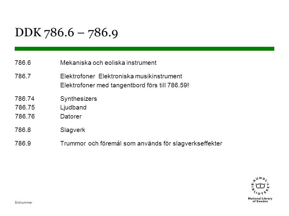 Sidnummer DDK 786.6 – 786.9 786.6Mekaniska och eoliska instrument 786.7Elektrofoner Elektroniska musikinstrument Elektrofoner med tangentbord förs till 786.59.