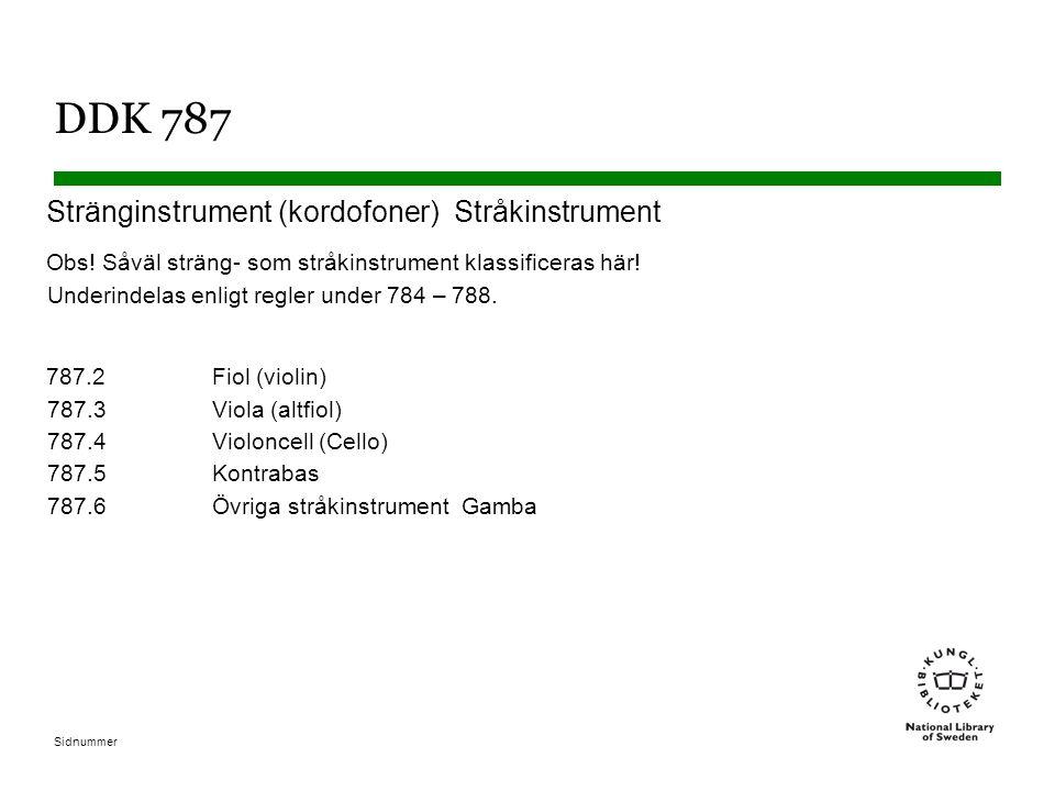 Sidnummer DDK 787 Stränginstrument (kordofoner) Stråkinstrument Obs! Såväl sträng- som stråkinstrument klassificeras här! Underindelas enligt regler u