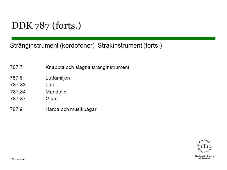 Sidnummer DDK 787 (forts.) Stränginstrument (kordofoner) Stråkinstrument (forts.) 787.7Knäppta och slagna stränginstrument 787.8Lutfamiljen 787.83Luta 787.84Mandolin 787.87Gitarr 787.9Harpa och musikbågar