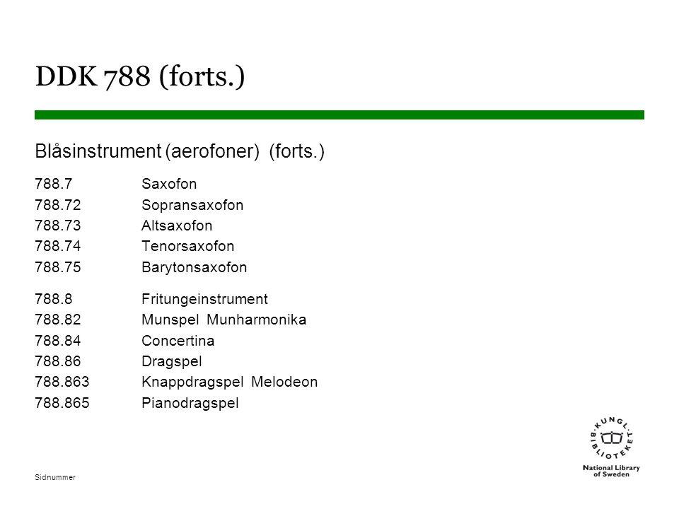 Sidnummer DDK 788 (forts.) Blåsinstrument (aerofoner) (forts.) 788.7Saxofon 788.72Sopransaxofon 788.73Altsaxofon 788.74Tenorsaxofon 788.75Barytonsaxof