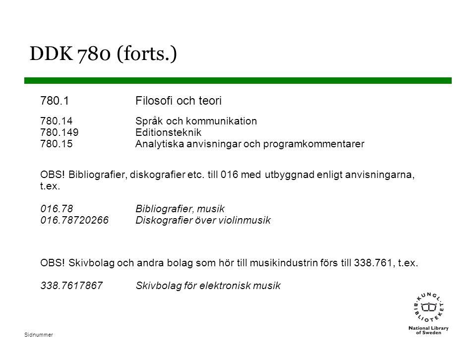 Sidnummer DDK 780 (forts.) 780.1Filosofi och teori 780.14Språk och kommunikation 780.149Editionsteknik 780.15Analytiska anvisningar och programkommentarer OBS.
