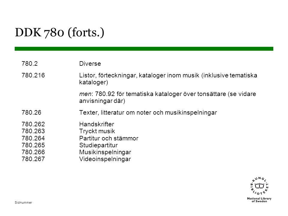 Sidnummer DDK 780 (forts.) 780.2Diverse 780.216 Listor, förteckningar, kataloger inom musik (inklusive tematiska kataloger) men: 780.92 för tematiska kataloger över tonsättare (se vidare anvisningar där) 780.26Texter, litteratur om noter och musikinspelningar 780.262Handskrifter 780.263Tryckt musik 780.264Partitur och stämmor 780.265Studiepartitur 780.266Musikinspelningar 780.267Videoinspelningar