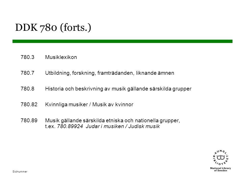 Sidnummer DDK 780 (forts.) 780.3Musiklexikon 780.7Utbildning, forskning, framträdanden, liknande ämnen 780.8Historia och beskrivning av musik gällande särskilda grupper 780.82Kvinnliga musiker / Musik av kvinnor 780.89Musik gällande särskilda etniska och nationella grupper, t.ex.