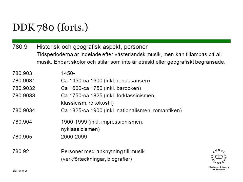 Sidnummer DDK 780 (forts.) 780.9Historisk och geografisk aspekt, personer Tidsperioderna är indelade efter västerländsk musik, men kan tillämpas på all musik.