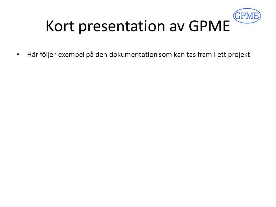 Kort presentation av GPME Kostnadskalkyler