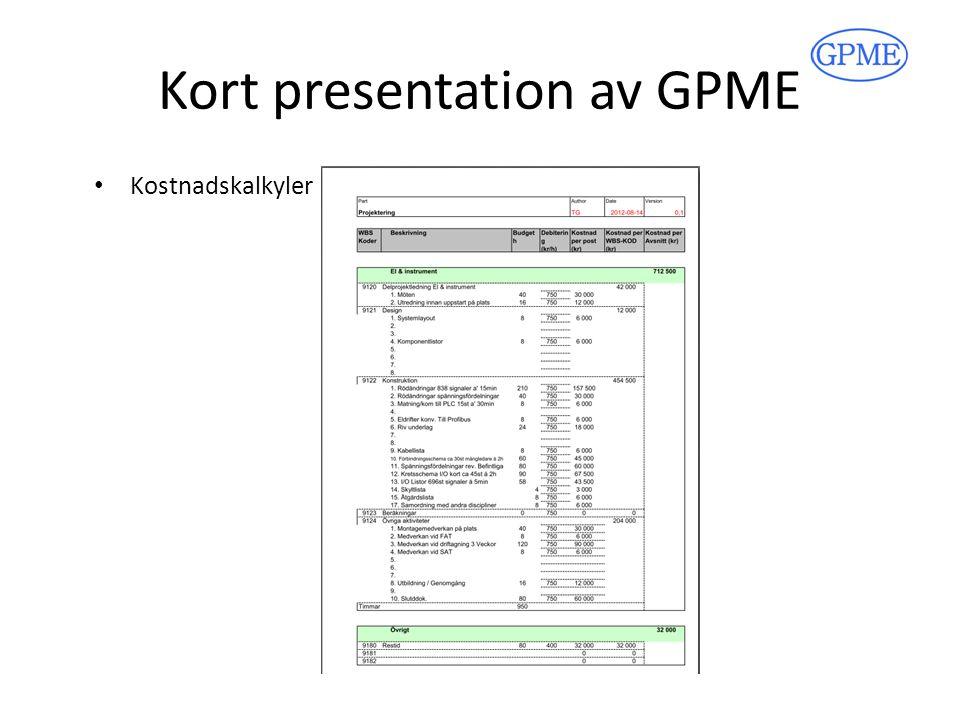 Kort presentation av GPME PID schema