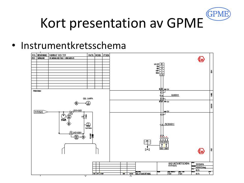 Kort presentation av GPME Instrumentkretsschema