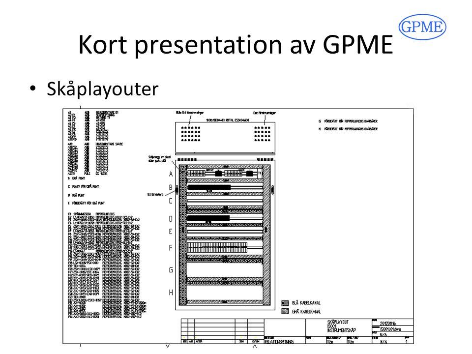 Kort presentation av GPME Systembeskrivningar