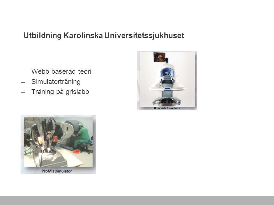 Utbildning Karolinska Universitetssjukhuset –Webb-baserad teori –Simulatorträning –Träning på grislabb