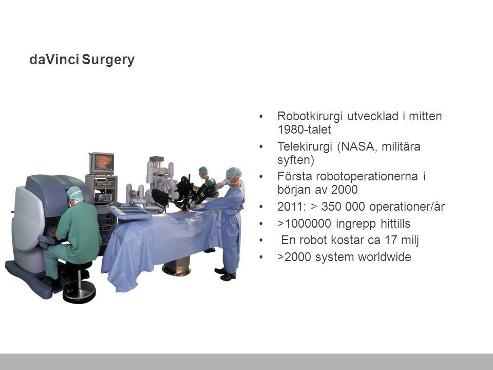 daVinci Surgery Robotkirurgi utvecklad i mitten 1980-talet Telekirurgi (NASA, militära syften) Första robotoperationerna i början av 2000 2011: > 350
