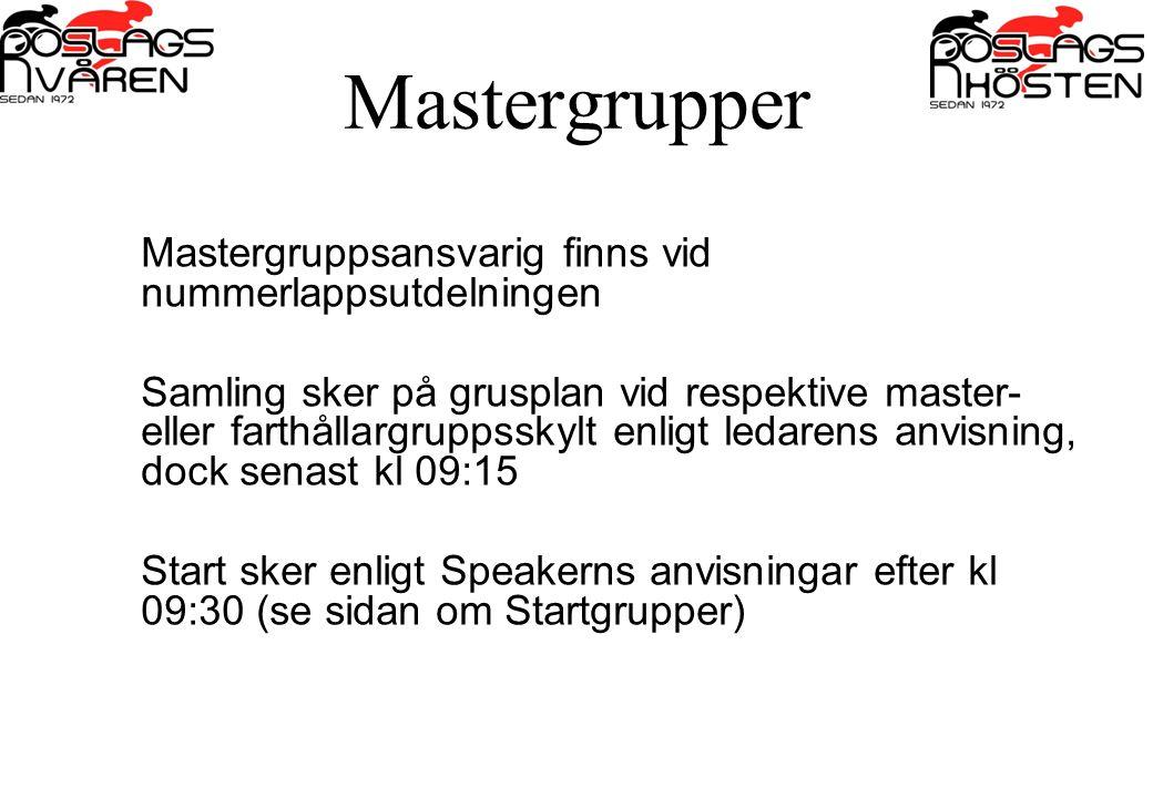 Mastergrupper Mastergruppsansvarig finns vid nummerlappsutdelningen Samling sker på grusplan vid respektive master- eller farthållargruppsskylt enligt