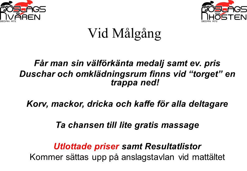 """Vid Målgång Får man sin välförkänta medalj samt ev. pris Duschar och omklädningsrum finns vid """"torget"""" en trappa ned! Korv, mackor, dricka och kaffe f"""