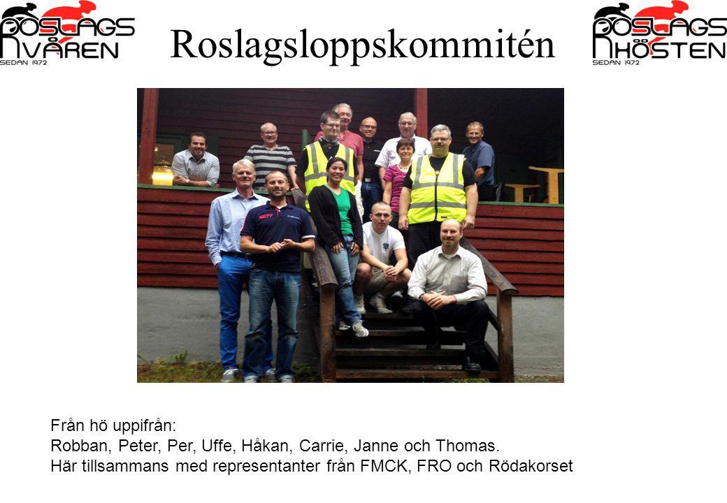 Från hö uppifrån: Robban, Peter, Per, Uffe, Håkan, Carrie, Janne och Thomas. Här tillsammans med representanter från FMCK, FRO och Rödakorset Roslagsl