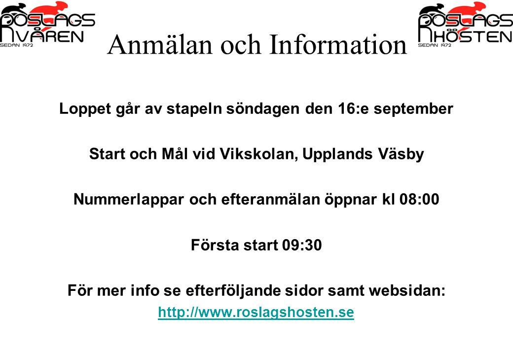 Anmälan och Information Loppet går av stapeln söndagen den 16:e september Start och Mål vid Vikskolan, Upplands Väsby Nummerlappar och efteranmälan öp