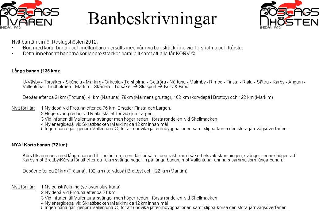 Banbeskrivningar Nytt bantänk inför Roslagshösten 2012: Bort med korta banan och mellanbanan ersätts med vår nya bansträckning via Torsholma och Kårst