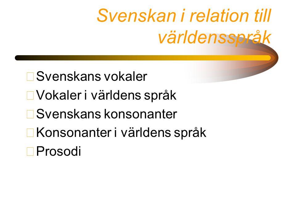Svenskan i relation till världensspråk •Svenskans vokaler •Vokaler i världens språk •Svenskans konsonanter •Konsonanter i världens språk •Prosodi