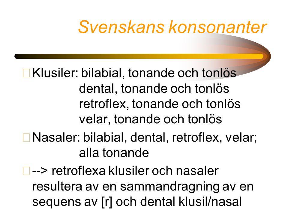 Svenskans konsonanter •Klusiler: bilabial, tonande och tonlös dental, tonande och tonlös retroflex, tonande och tonlös velar, tonande och tonlös •Nasa