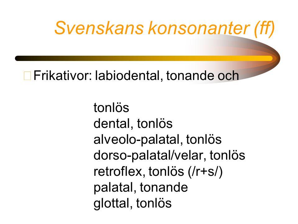 Svenskans konsonanter (ff) •Frikativor: labiodental, tonande och tonlös dental, tonlös alveolo-palatal, tonlös dorso-palatal/velar, tonlös retroflex,