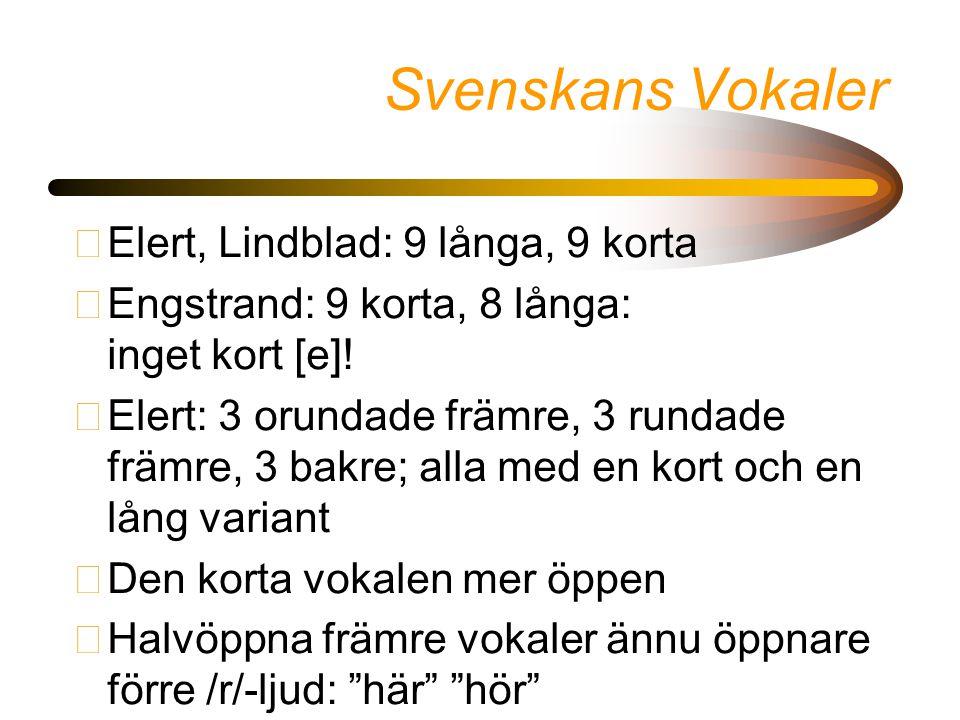 Svenskans Vokaler •Elert, Lindblad: 9 långa, 9 korta •Engstrand: 9 korta, 8 långa: inget kort [e]! •Elert: 3 orundade främre, 3 rundade främre, 3 bakr