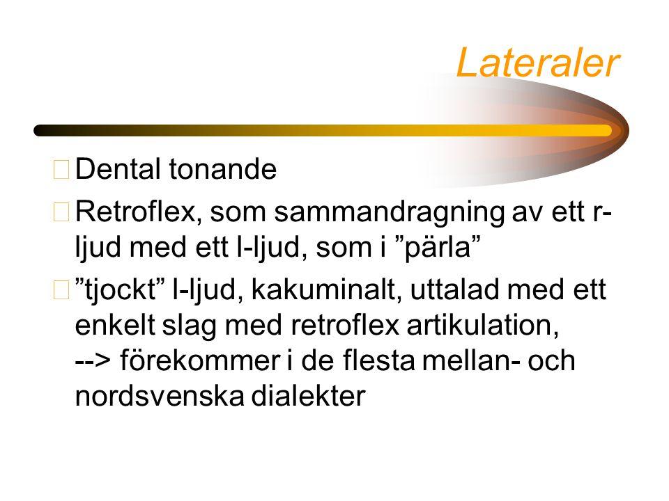 Lateraler •Dental tonande •Retroflex, som sammandragning av ett r- ljud med ett l-ljud, som i pärla • tjockt l-ljud, kakuminalt, uttalad med ett enkelt slag med retroflex artikulation, --> förekommer i de flesta mellan- och nordsvenska dialekter