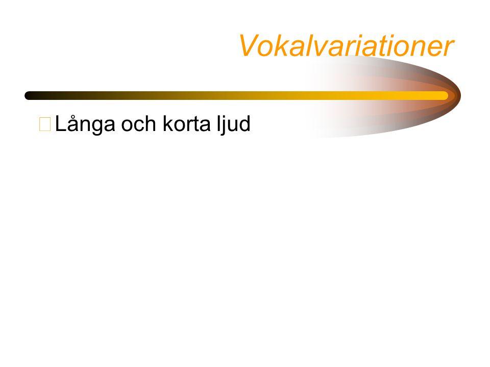 Vokalvariationer •Långa och korta ljud