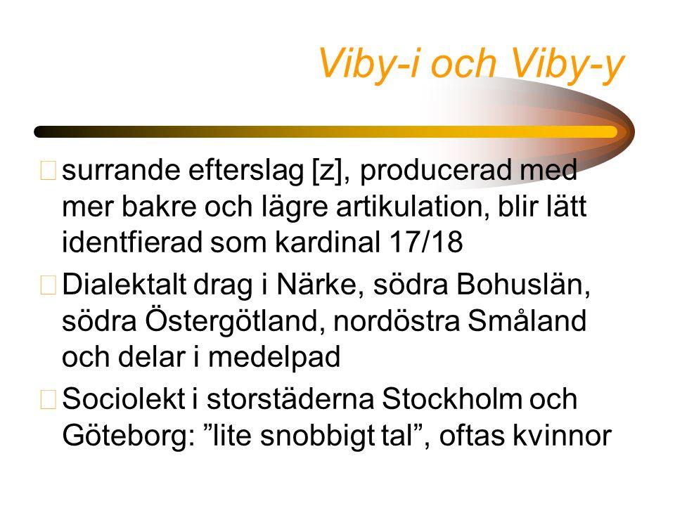 Viby-i och Viby-y •surrande efterslag [z], producerad med mer bakre och lägre artikulation, blir lätt identfierad som kardinal 17/18 •Dialektalt drag