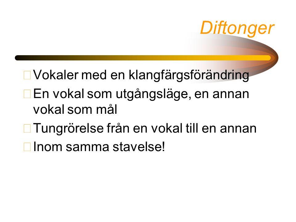 Diftonger •Vokaler med en klangfärgsförändring •En vokal som utgångsläge, en annan vokal som mål •Tungrörelse från en vokal till en annan •Inom samma stavelse!