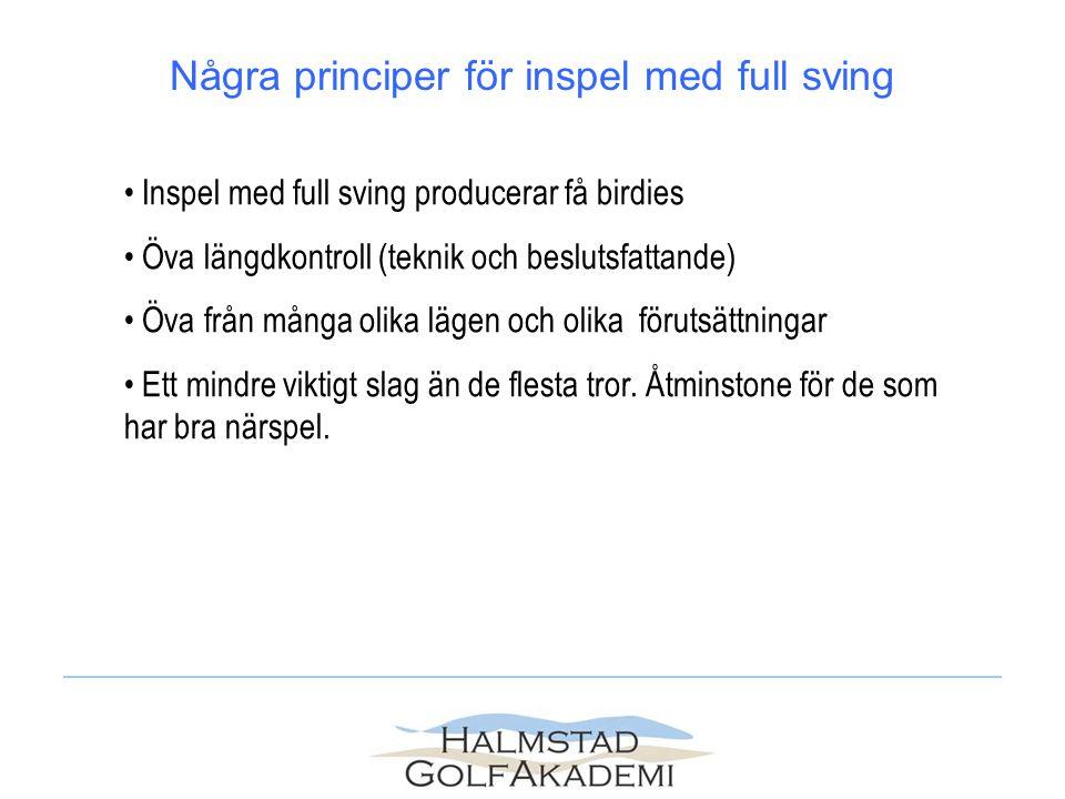 Några principer för inspel med full sving Inspel med full sving producerar få birdies Öva längdkontroll (teknik och beslutsfattande) Öva från många ol