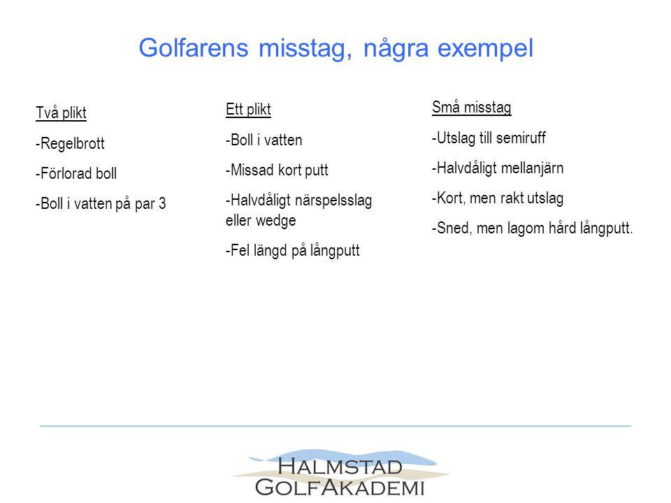 Två plikt -Regelbrott -Förlorad boll -Boll i vatten på par 3 Ett plikt -Boll i vatten -Missad kort putt -Halvdåligt närspelsslag eller wedge -Fel läng