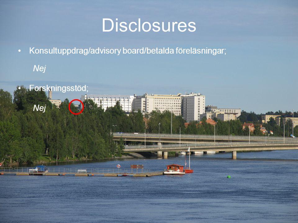 Fortbildningsdagarna 2-4 oktober 2013 Sundsvall Disclosures Konsultuppdrag/advisory board/betalda föreläsningar; Nej Forskningsstöd; Nej